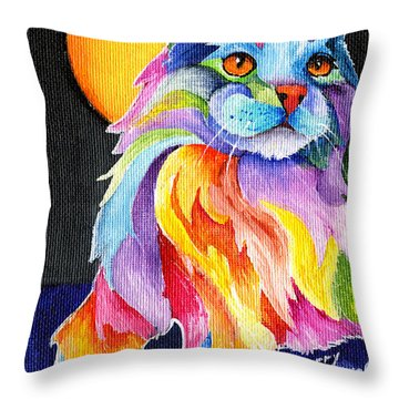 Tutti Fruiti Kitty Throw Pillow by Sherry Shipley