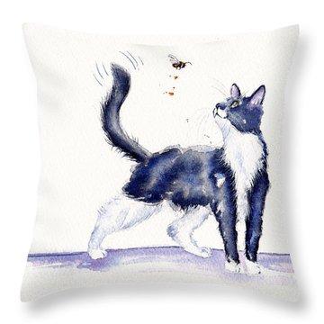 Tuxedo Cat And Bumble Bee Throw Pillow