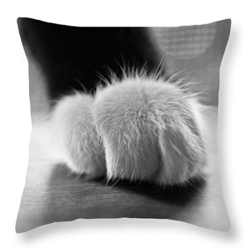 Tuxedo Cat Paw Black And White Throw Pillow