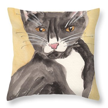 Tuxedo Cat With Attitude Throw Pillow by Terry Taylor