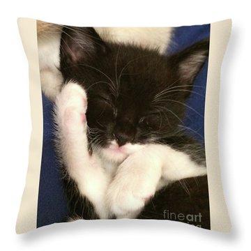 Tuxedo Kitten Snoozing Throw Pillow