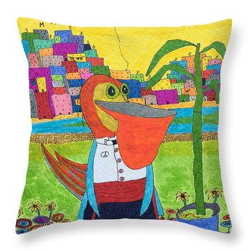 Tuxedo Pelican Throw Pillow