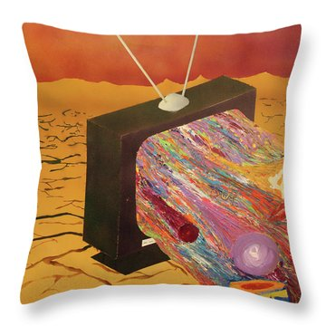 Tv Wasteland Throw Pillow