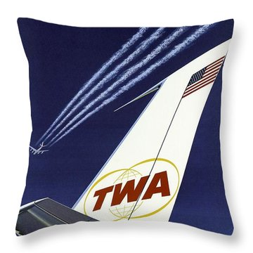 Twa Star Stream Jet - Minimalist Vintage Advertising Poster Throw Pillow