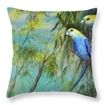 Two Pale-faced Rosellas Throw Pillow