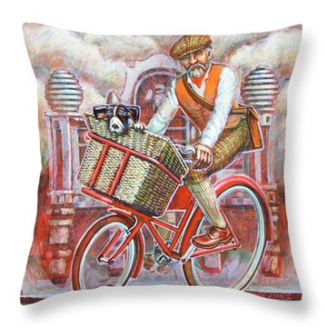 Tweed Runner On Red Pashley Throw Pillow