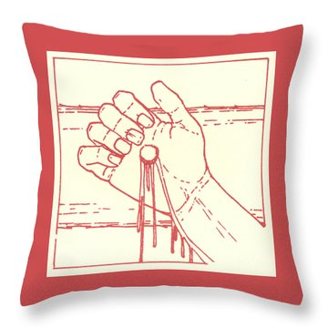 Throw Pillow featuring the drawing Twelfth Station- Jesus Is Raised Upon The Cross And Dies  by William Hart McNichols