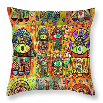 Twelve Hamsas Throw Pillow