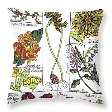 Twelve Month Flower Box Throw Pillow