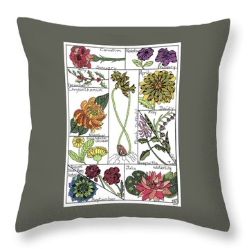 Twelve Month Flower Box Throw Pillow