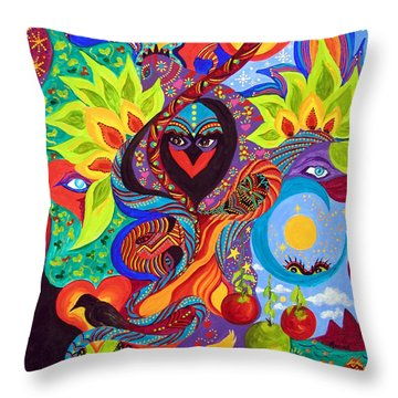 Throw Pillow featuring the painting Lovebirds by Marina Petro