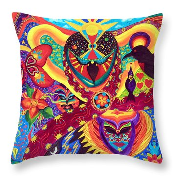 Throw Pillow featuring the painting Raven's Watch by Marina Petro
