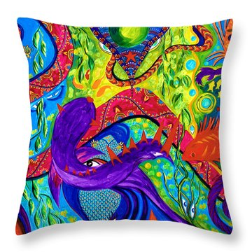 Throw Pillow featuring the painting Undersea Adventure by Marina Petro