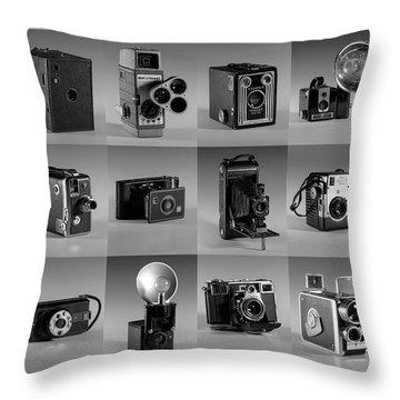 Twenty Old Cameras - Black And White Throw Pillow