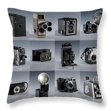 Twenty Old Cameras - Color Throw Pillow