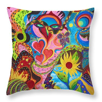 Hearts And Flowers Throw Pillow by Marina Petro