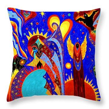 Throw Pillow featuring the painting Angel Fire by Marina Petro