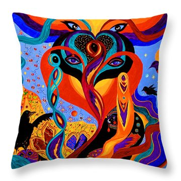 Throw Pillow featuring the painting Karmic Lovers by Marina Petro