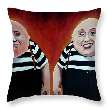 Twiddledee And Twiddledumb Throw Pillow by Tom Carlton