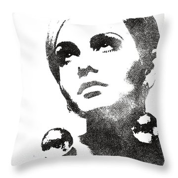 Twiggy Bw Portrait Throw Pillow by Mihaela Pater