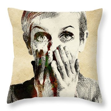Twiggy Surprised Throw Pillow by Mihaela Pater