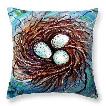 Throw Pillow featuring the painting Twigs by Elizabeth Robinette Tyndall