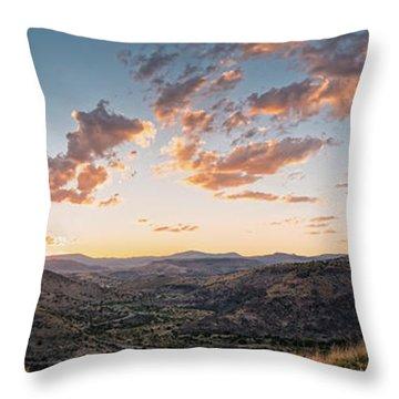 Twilght Panorama Of Davis Mountains State Park Blue Mountain And Mount Livermore - Fort Davis Texas Throw Pillow