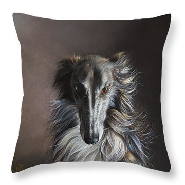 Throw Pillow featuring the drawing Twilight Angel by Elena Kolotusha