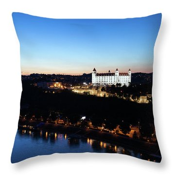 Twilight At Danube River In Bratislava City Throw Pillow