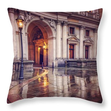 Throw Pillow featuring the photograph Twilight At Hamburg Town Hall Courtyard  by Carol Japp