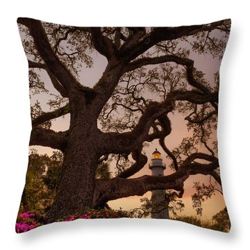 Twilight At St. Simons Lighthouse Throw Pillow