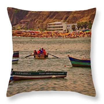 Throw Pillow featuring the photograph Twilight At The Beach, Miraflores, Peru by Mary Machare