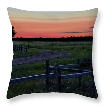 Twilight At The Higgins Farm Throw Pillow