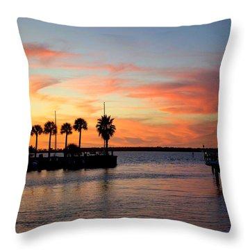 Twilight At The Marina Throw Pillow