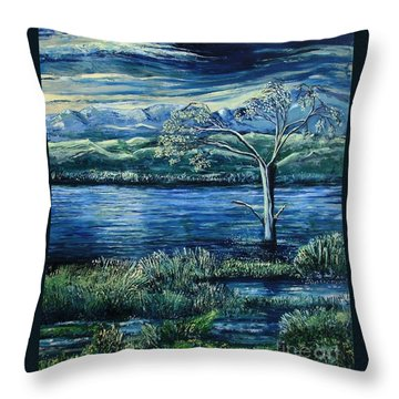 Twilight At The River Throw Pillow by Caroline Street