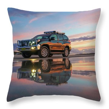 Twilight Beach Reflections And 4wd Car Throw Pillow