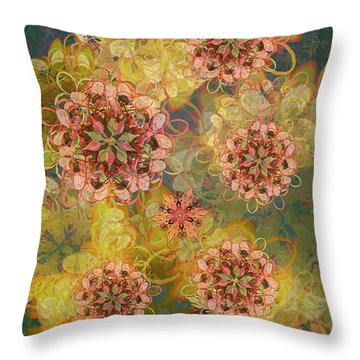 Twilight Blossom Bouquet Throw Pillow