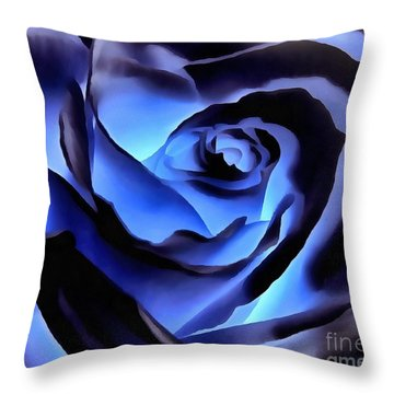 Twilight Blue Rose  Throw Pillow