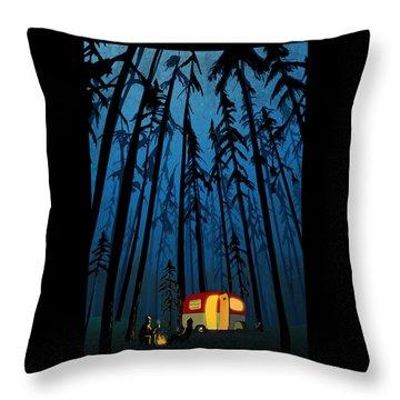Twilight Camping Throw Pillow