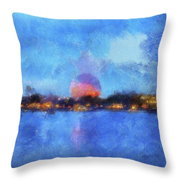 Twilight Epcot World Showcase Lagoon Wdw 02 Photo Art Mp Throw Pillow