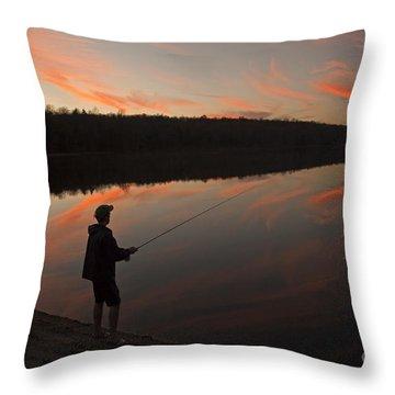 Twilight Fishing Delight Throw Pillow