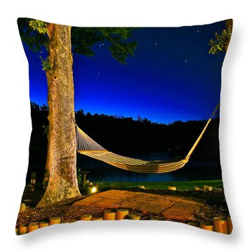 Twilight Hammock Smith Mountain Lake Throw Pillow