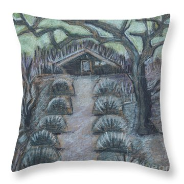Twilight In Garden, Illustration Throw Pillow