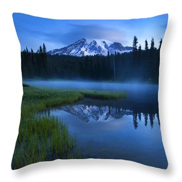 Twilight Mist Rising Throw Pillow by Mike  Dawson