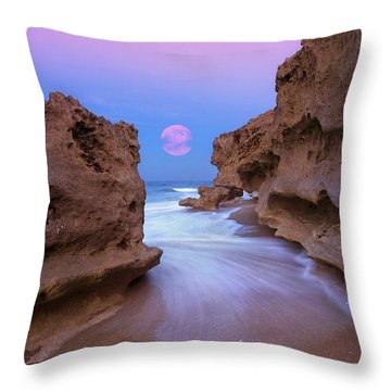 Twilight Moon Rising Over Hutchinson Island Beach Rocks Throw Pillow by Justin Kelefas