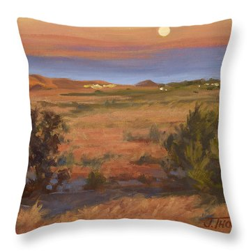 Twilight Moonrise, Valyermo Throw Pillow by Jane Thorpe