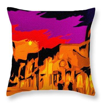 Twilight On The Plaza Santa Fe Throw Pillow
