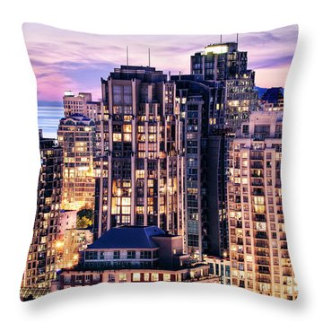Twilight Over English Bay Vancouver Throw Pillow