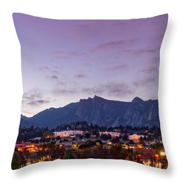 Twilight Panorama Of Estes Park, Stanley Hotel, Castle Mountain And Lumpy Ridge - Rocky Mountains  Throw Pillow