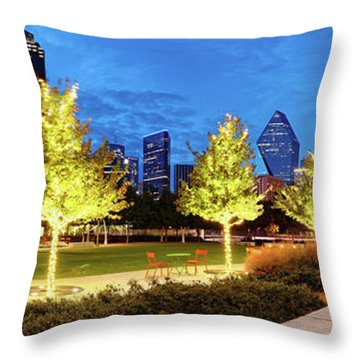 Twilight Panorama Of Klyde Warren Park And Downtown Dallas Skyline - North Texas Throw Pillow